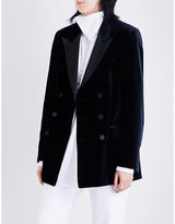 Dries Van Noten Badeni double-breasted velvet tuxedo blazer