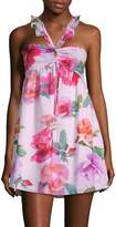 6 Shore Road Women's Floral-Print Smocked Mini Dress