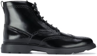 Hogan Brogue Leather Ankle Boots