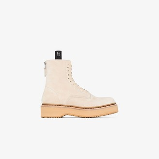 R 13 Beige single stack 40 platform suede boots