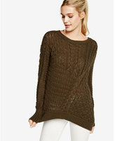 Express asymmetical cable knit sweater