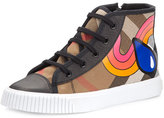 Burberry Warslow Rainbow Check High-Top Sneaker, Black, Kids'