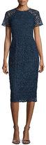 Shoshanna Short-Sleeve Floral-Lace Sheath Dress, Navy