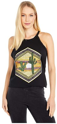 Rock and Roll Cowgirl High Neck 49-4485 (Black) Women's Clothing