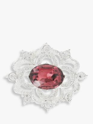 Susan Caplan Vintage Napier Silver Plated Swarovski Crystal Edwardian Brooch, Silver/Red