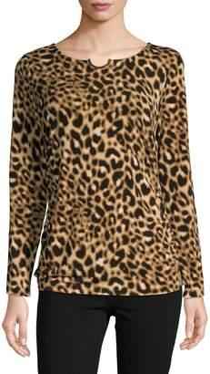 Calvin Klein Leopard-Print Long-Sleeve Top