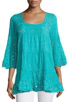 Johnny Was Bell-Sleeve Eyelet Tiered Tunic, Petite