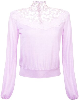 Giambattista Valli Floral Lace Detail Knitted Jumper