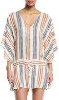 Vix Potosi V-Neck Long-Sleeve Striped Coverup Tunic