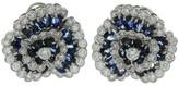 Van Cleef & Arpels Camelia Diamond Blue Sapphire Clip-on Earrings