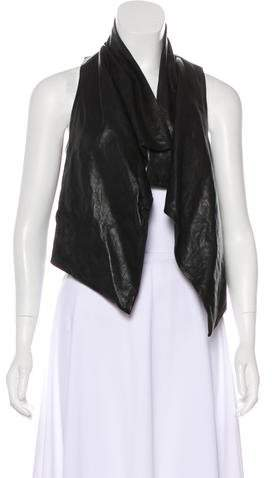 Theory Leather-Accented Open Front Vest