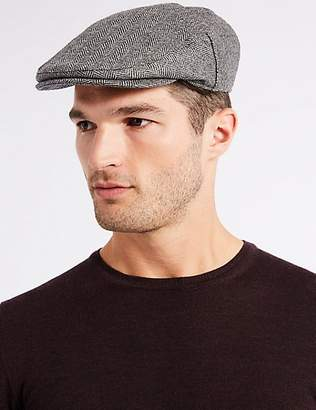 M&S Collection Pure Wool Flat Cap with StormwearTM