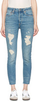 RE/DONE Re-done Blue Originals High-rise Ankle Crop Rigid Jeans