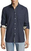 Rag & Bone Standard Issue Brushed Cotton Sport Shirt, Navy