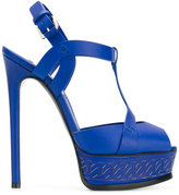 Casadei chain-effect platform t-strap sandals - women - Leather - 40
