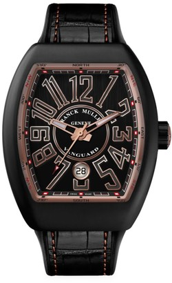 Franck Muller Vanguard Brushed Titanium, Rose Gold, Leather & Rubber Strap Watch