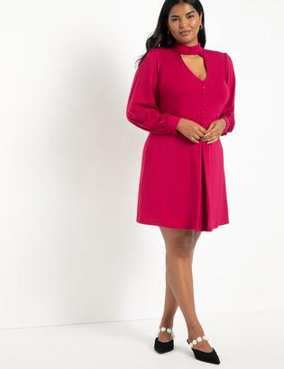 ELOQUII Cutout Neckline Fit And Flare Dress