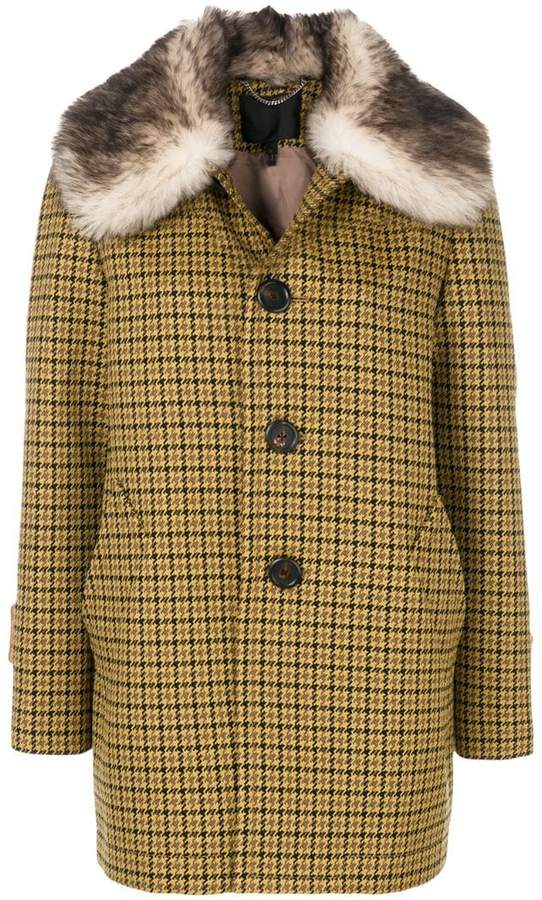 Marc Jacobs fur trimmed single breasted coat