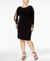 Calvin Klein Plus Cold-Shoulder Embellished-Cuff Dress