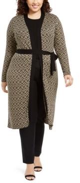 Belldini Plus Size Metallic-Knit Duster Cardigan