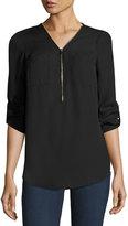 Neiman Marcus Zip-Front Peasant Tunic, Black