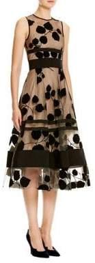 Carolina Herrera Leaf-Embroidered Flocked Velvet Dress