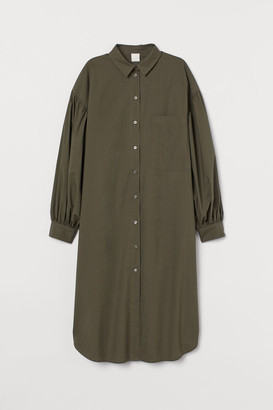 H&M Cotton Shirt Dress - Green