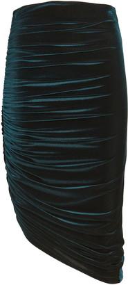 Alix Langston Ruched Velvet Midi Skirt