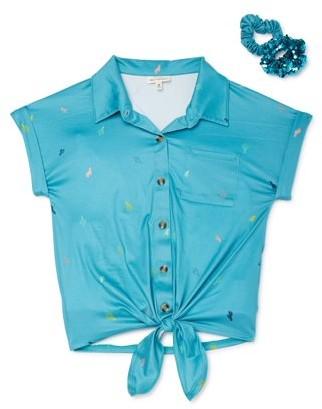 Sugar & Diamonds Girls Printed Tie-Front Shirt with Scrunchie, Sizes 7-16