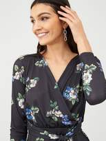 Very Wrap Printed Stretch Blouse - Blue/Floral