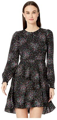 Kate Spade Confetti Cheer Smocked Dress (Black) Women's Dress