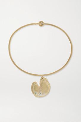 Pascale Monvoisin Calypso 9-karat Gold, Sterling Silver, Emerald And Diamond Bracelet - one size