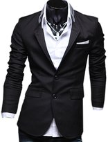 Partiss Mens Slim Fit Pure Color Business Suit