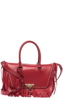 Valentino Leather Fringe Studded Satchel