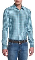 Kiton Check Long-Sleeve Sport Shirt, Green/Blue