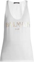 Balmain Logo-print racer-back cotton-jersey tank top