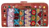 Nicole Lee Women's Heloise Fabric Embroidered Wallet - Brown Zipper