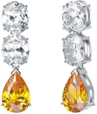 Genevive Silver Stone Triple Drop Earrings