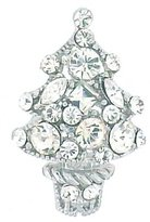 PYNK JEWELLERY Small Silver Plated & Swarovski Crystal Christmas Tree Brooch