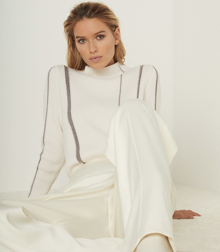 Reiss Naomi - Metallic Stripe Detailed Jumper in White