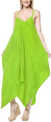 LA LEELA Everyday Essentials Women Solid Plain Short Beach Dress Vintage Casual Maxi Evening Loungewear Short Sleeve Daily wear Caftan Cover up Tunic One Size Large Green_C115 Size-14(M)-20(XL)