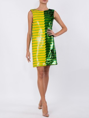 Halpern Green And Yellow Sequin Mini Dress