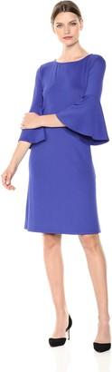 Kasper Women's Knit Dress with Ruffled Bell Sleeve