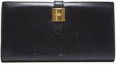 Hermes Black Box Calf Cadena Long Wallet