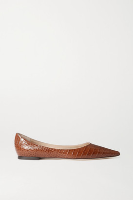 Jimmy Choo Love Croc-effect Leather Point-toe Flats - Tan