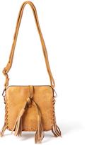 Kathy Ireland Brown Cross-Stitch Crossbody Bag
