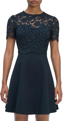 Rose Lace Bodice Ponte Dress