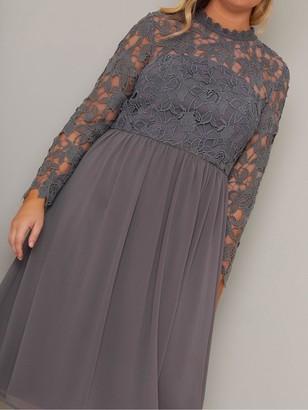 Chi Chi London Zela Floral Lace Dress - Grey
