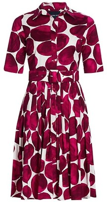 Samantha Sung Pebble Printed Belted Shirtdress