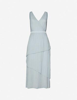 Ted Baker Ionaa tiered metallic crepe midi dress